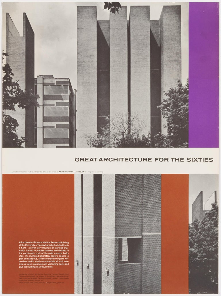 Walter Allner Print - Great Architecture for the Sixties –Medical Research Building by Louis Kahn