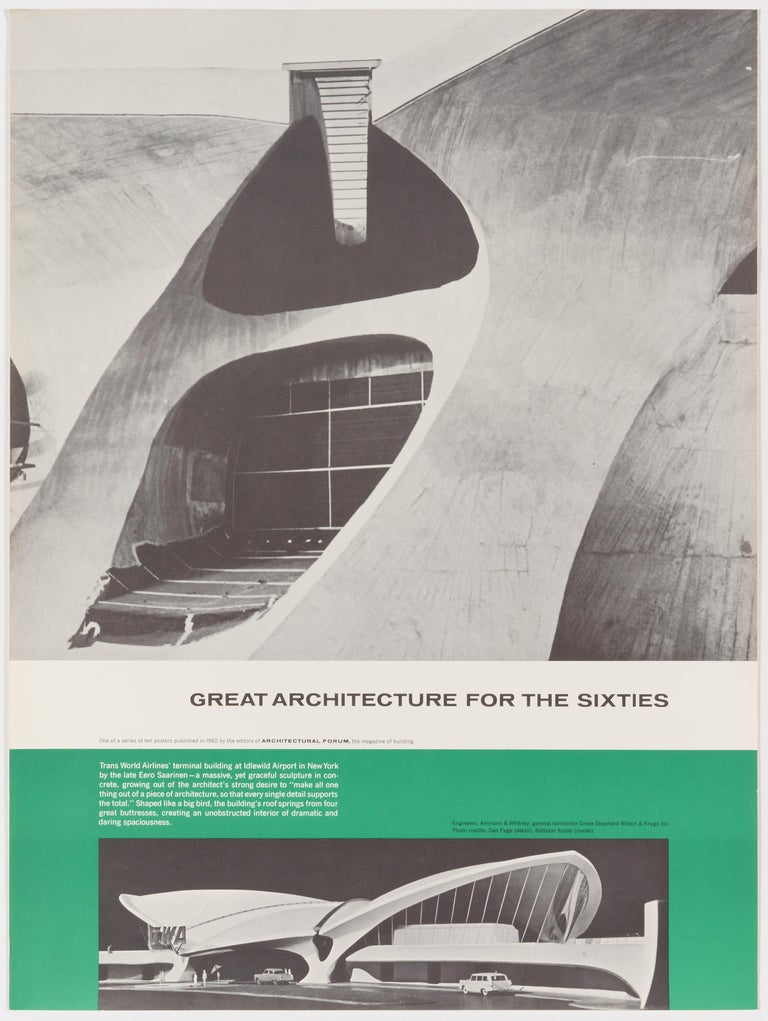 Walter Allner Print - Great Architecture for the Sixties –TWAs Terminal Building by Eero Saarinen