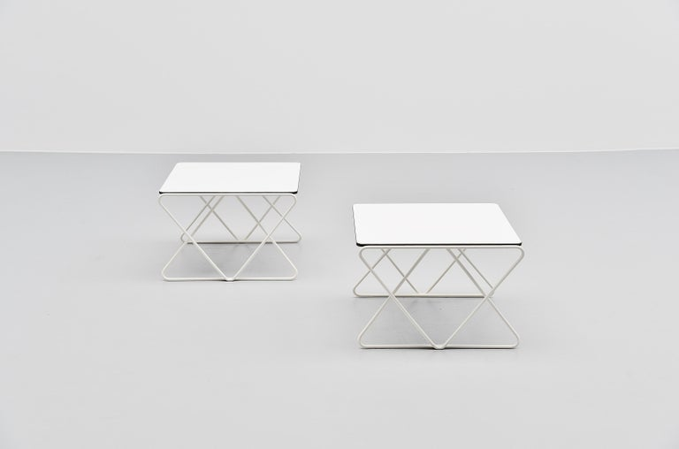 Metal Walter Antonis Side Tables for I-Form Holland, 1978 For Sale