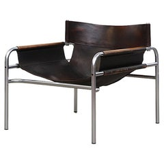 """Walter Antonis """"SZ14"""" Leather and Chrome Framed Lounge Chair"""