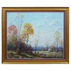 Walter Ashbaugh Impressionist Autumn Landscape Painting Countryside Oil on Board