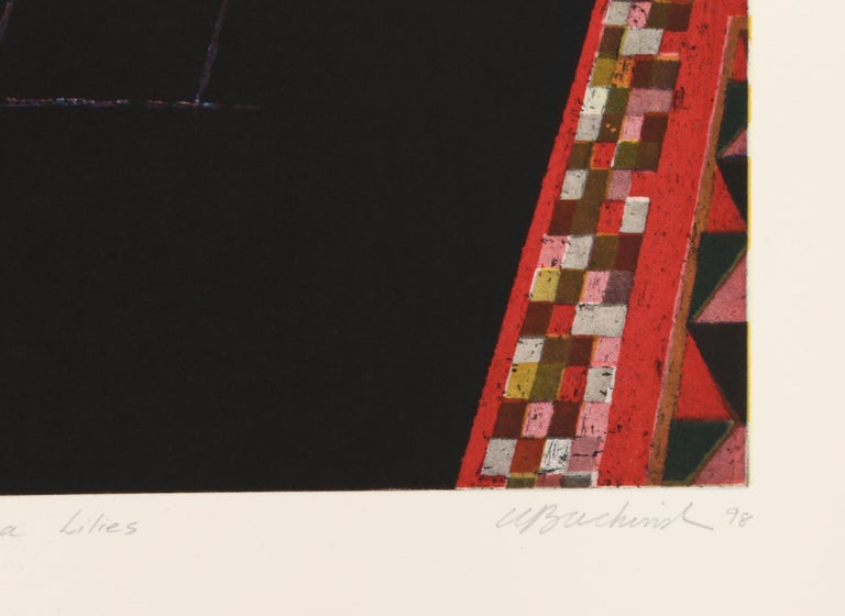 Cuernavaca Lillies - Black Interior Print by Walter Bachinski