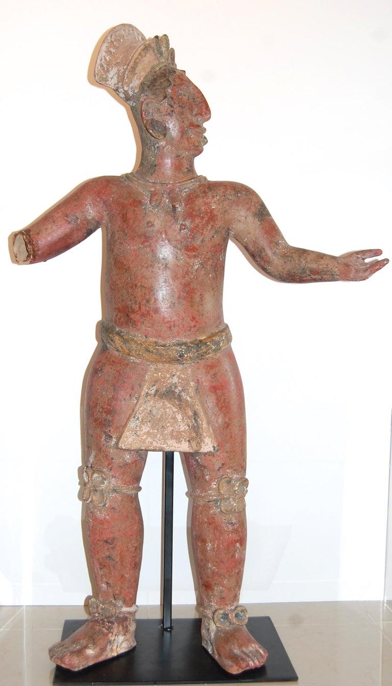 Walter Bastianetto Figurative Sculpture - Large Mayan Clay Sculpture