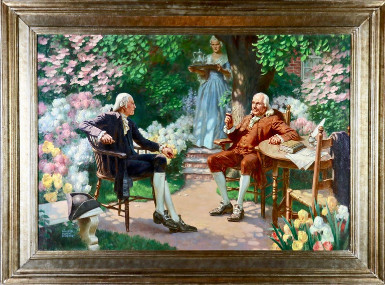 George Washington & Ben Franklin - Painting by Walter Beach Humphrey
