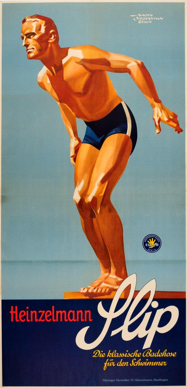 Walter Biedermann Print - Original Vintage Sport Fashion Poster For Slip Badehose Swimming Trunks Ft Diver
