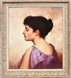 Antique American Portrait Oil Painting, Young Beautiful Woman, Walter Blackman