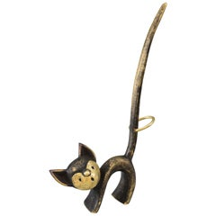 Walter Bosse Brass Cat Figurine Pretzel Holder, Ring Holder