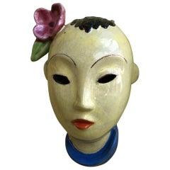Walter Bosse Ceramic Wall Mask, Austria circa 1930s, Yellow, Blue, Red