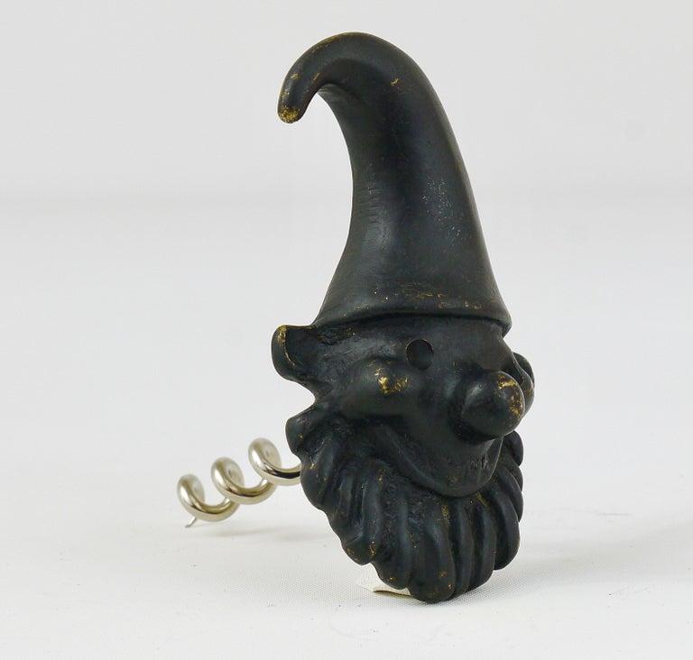 Austrian Walter Bosse Dwarf Brass Cork Screw Bottle Opener, Hertha Baller, Austria, 1950s For Sale