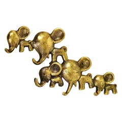 Walter Bosse Elephants Brass Key Hanger by Hertha Baller, Austria, 1950s