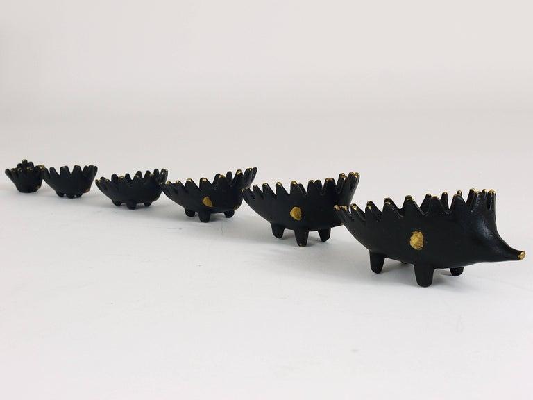 Walter Bosse Hedgehog Stackable Brass Ashtrays, Hertha Baller, Austria, 1950s For Sale 3