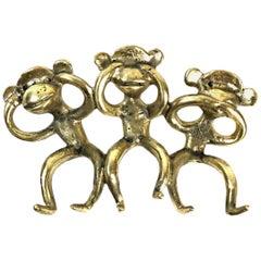 Walter Bosse Midcentury Brass Wall-Mounted Monkeys Key Hanger, 1950s, Austria