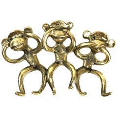 Walter Bosse Midcentury Brass Wall-Mounted Monkeys Key Hanger, 1950s, Austria