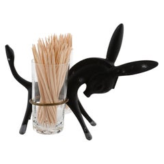 Walter Bosse Toothpick Holder Donkey Set, Black Brass Glass, Hertha Baller, 1950