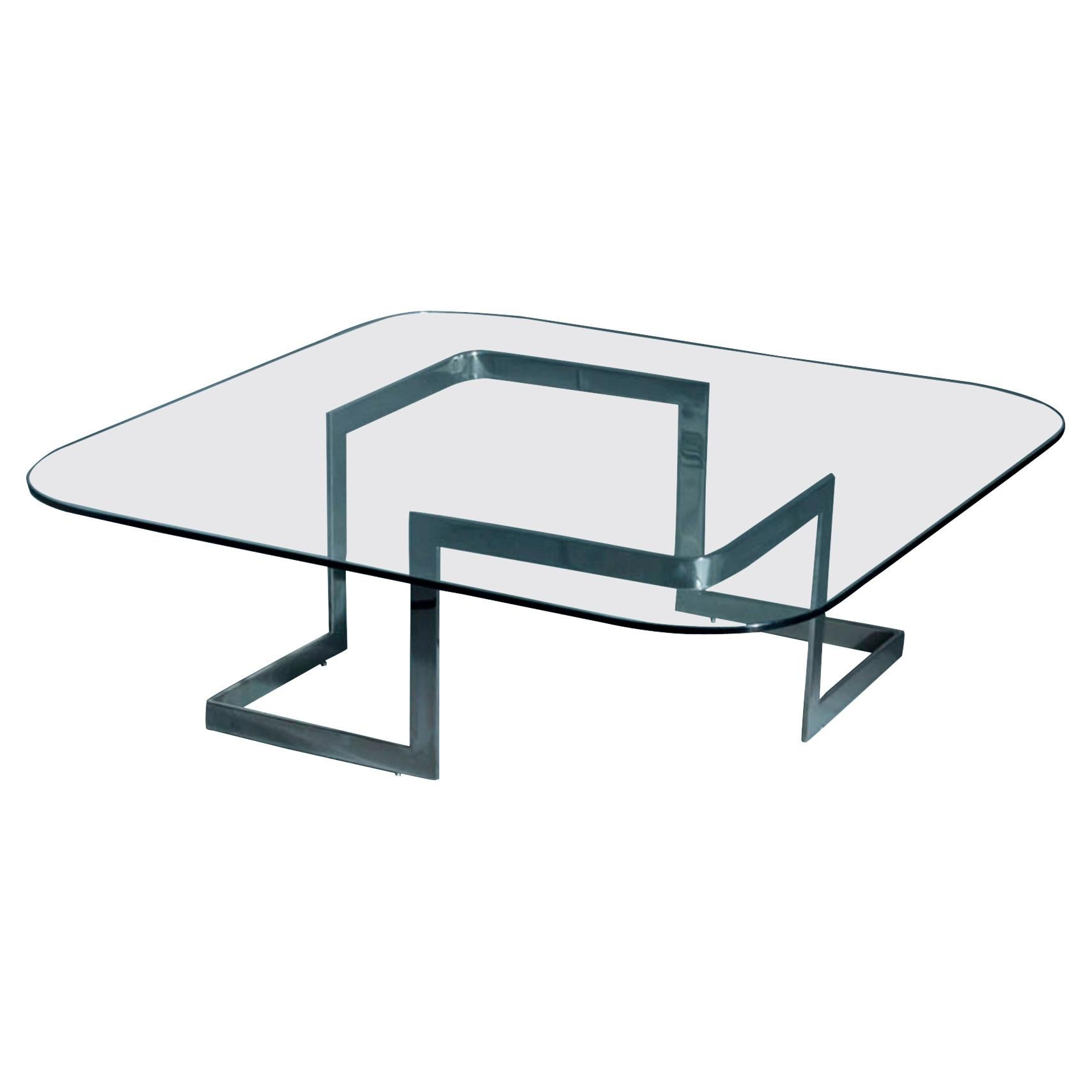 Walter, Coffee Table with glass top and stainless steel base