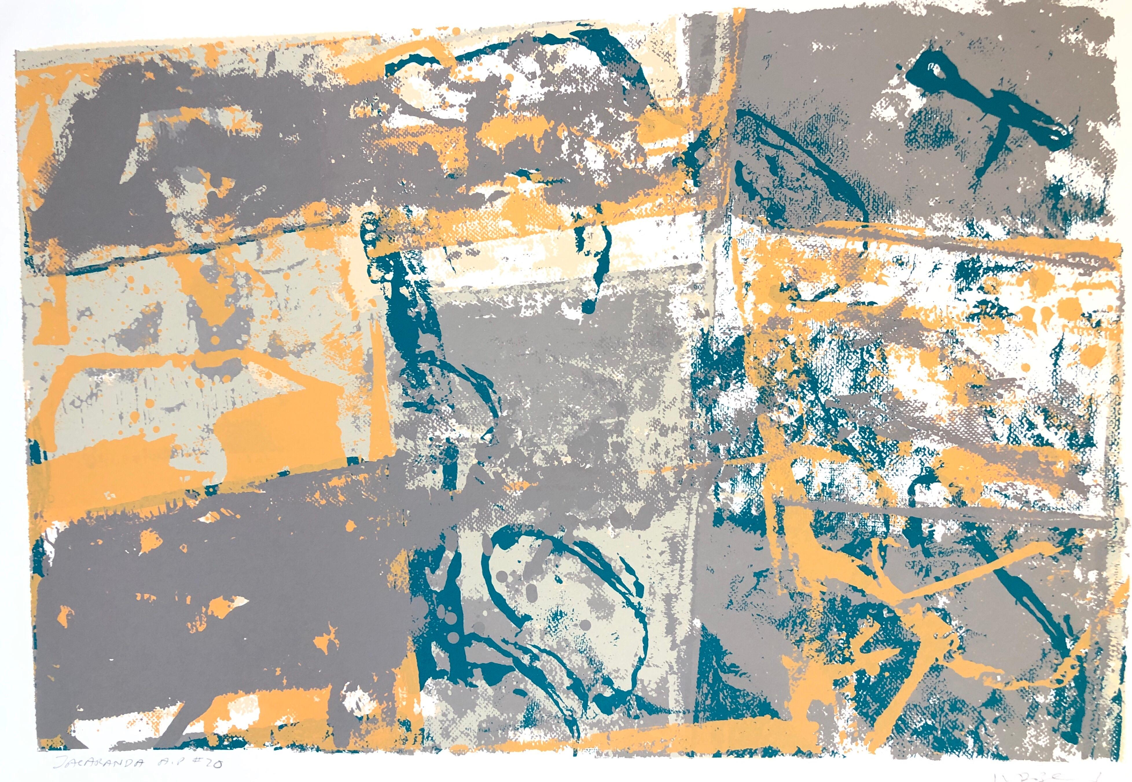 Large Modern Miami Abstract Expressionist Screenprint Lithograph
