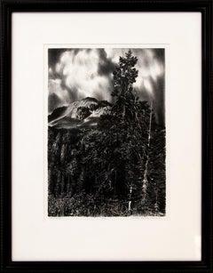Mt Lassen (Northern California), Black & White lithograph Mountain Landscape