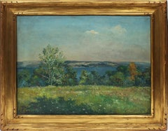 Antique American Impressionist Pennsylvania Exhibited Landscape Oil Painting