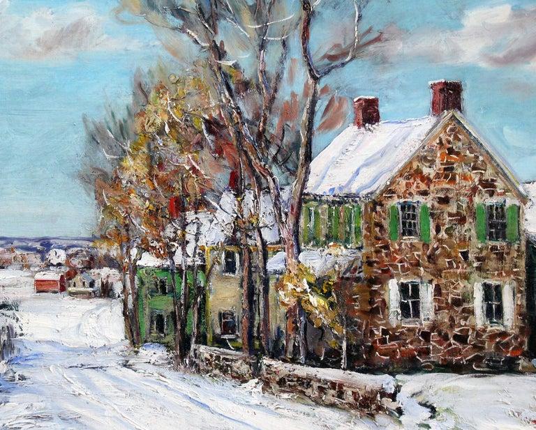 Bucks County Farmhouse, Hagersville, Pennsylvania Impressionist Snow Landscape - Painting by Walter Emerson Baum