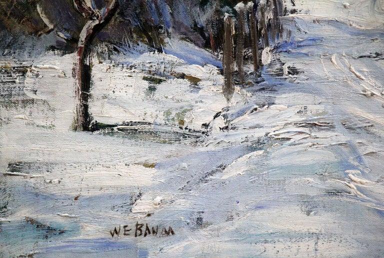 Bucks County Farmhouse, Hagersville, Pennsylvania Impressionist Snow Landscape - American Impressionist Painting by Walter Emerson Baum