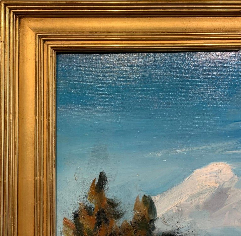 Bucks County Farmhouse, Hagersville, Pennsylvania Impressionist Snow Landscape - Blue Landscape Painting by Walter Emerson Baum