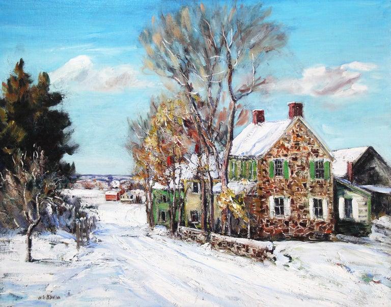 Walter Emerson Baum Landscape Painting - Bucks County Farmhouse, Hagersville, Pennsylvania Impressionist Snow Landscape