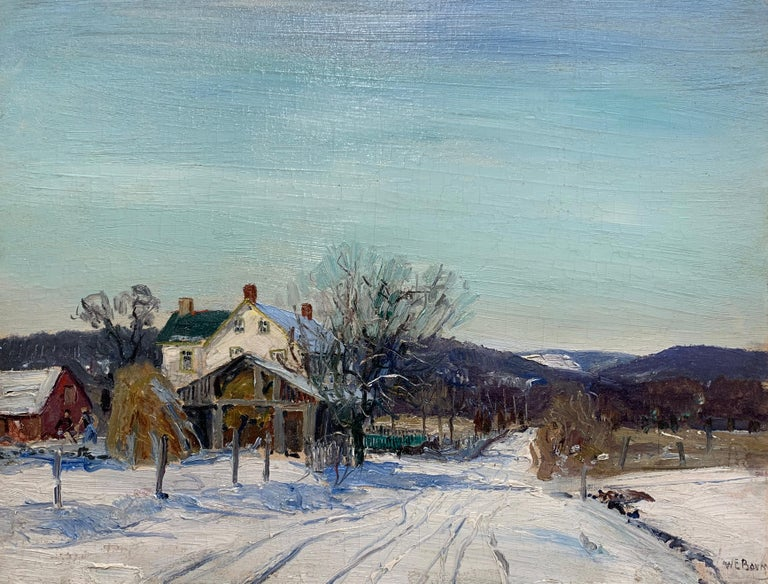 Mill Road, Pennsylvania Impressionist Winter Landscape, Snow Scene with Figures - Painting by Walter Emerson Baum