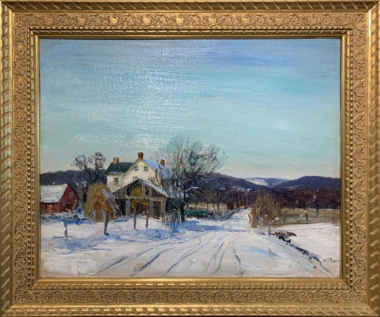Walter Emerson Baum Figurative Painting - Mill Road, Pennsylvania Impressionist Winter Landscape, Snow Scene with Figures