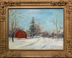 Two Red Barns, Pennsylvania Impressionist Winter Landscape, Bucks County