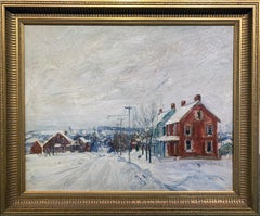 View of Sellersville, Pennsylvania Impressionist Winter Landscape, Bucks County