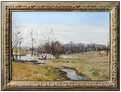 Walter Emerson Baum Original Oil Painting on Board Signed River Landscape Art