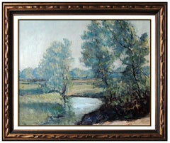 Walter Emerson Baum Original Oil Painting on Canvas Signed River Landscape Art