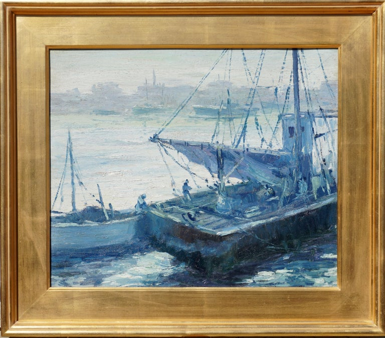 Mid-Century Modern Walter Emerson Baum Marine Oil Painting, 1937 For Sale
