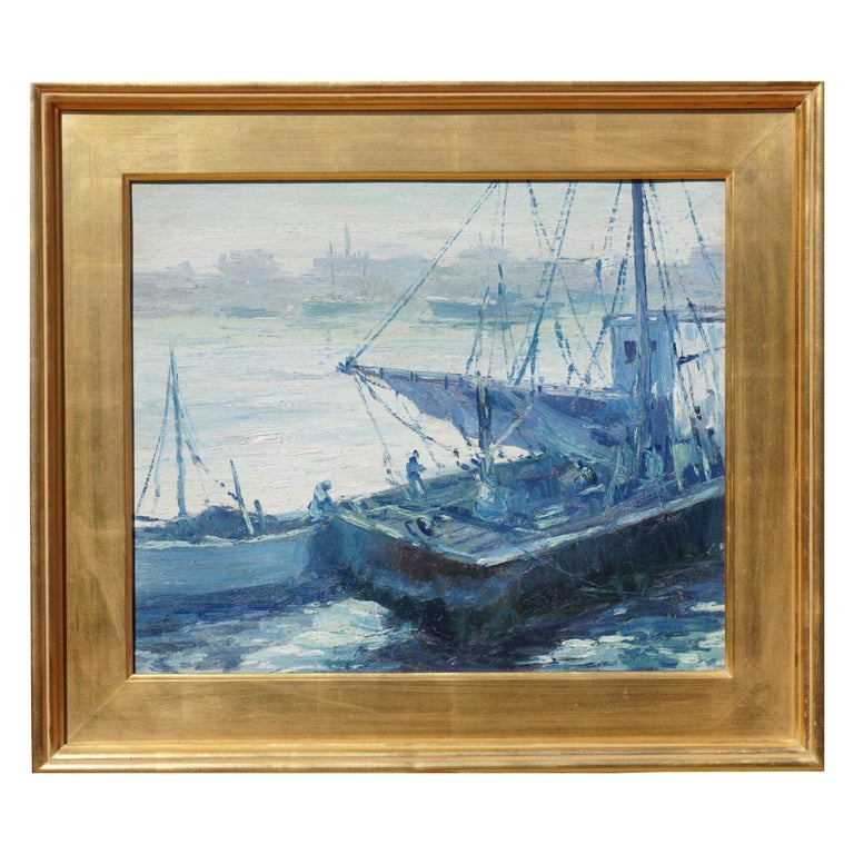 Walter Emerson Baum Marine Oil Painting, 1937 For Sale