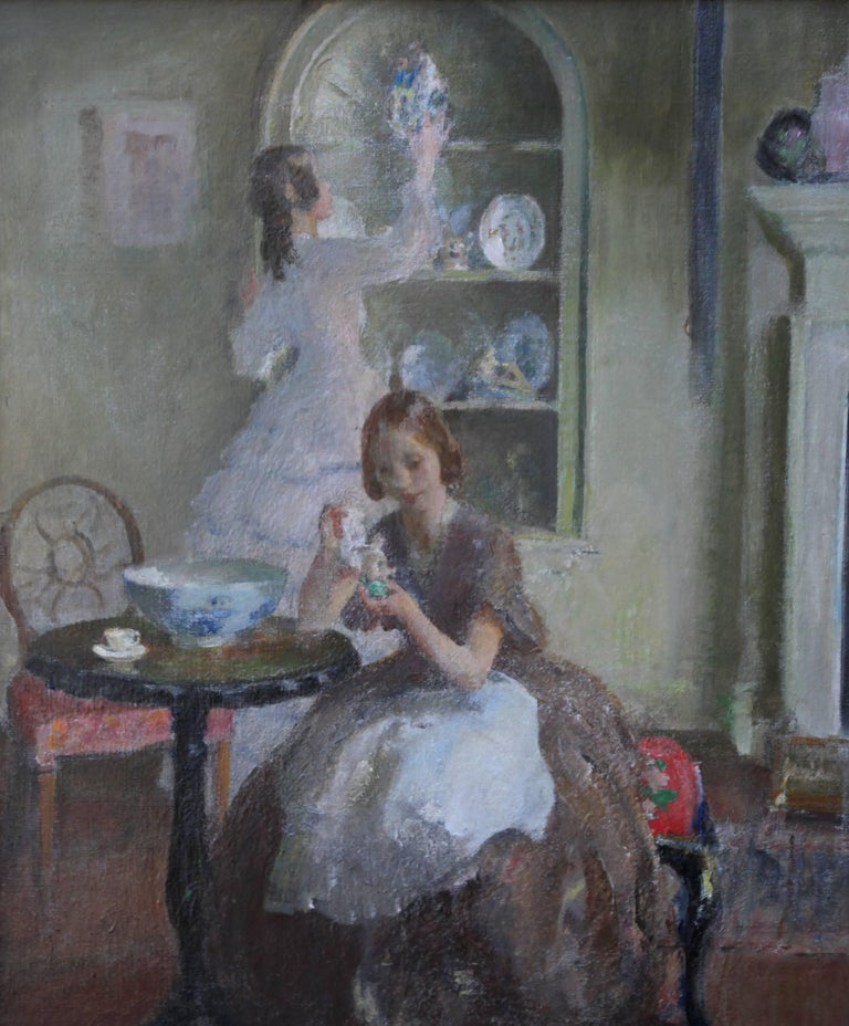 Cleaning the China - British 30's Impressionist art interior oil portrait women  - Painting by Walter Ernest Webster