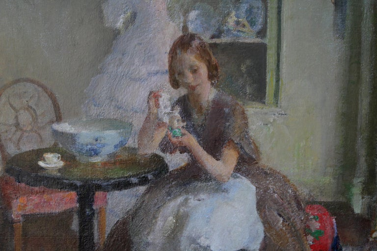 Cleaning the China - British 30's Impressionist art interior oil portrait women  For Sale 1