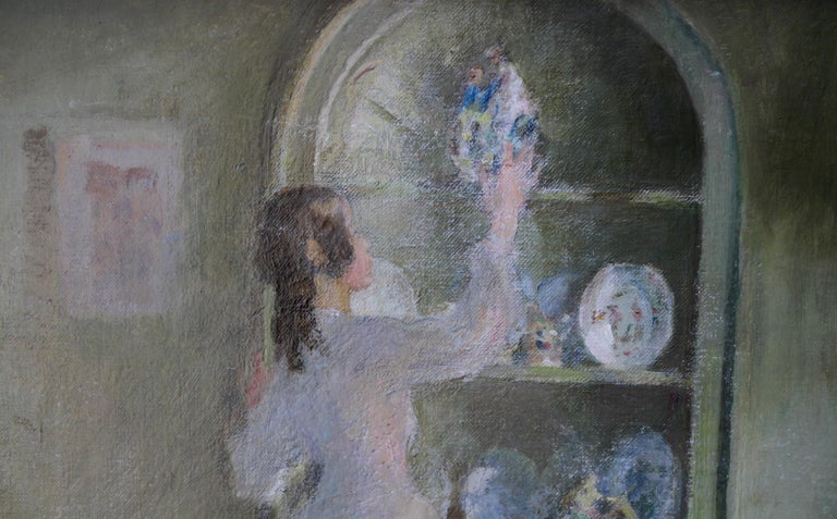 Cleaning the China - British 30's Impressionist art interior oil portrait women  For Sale 3