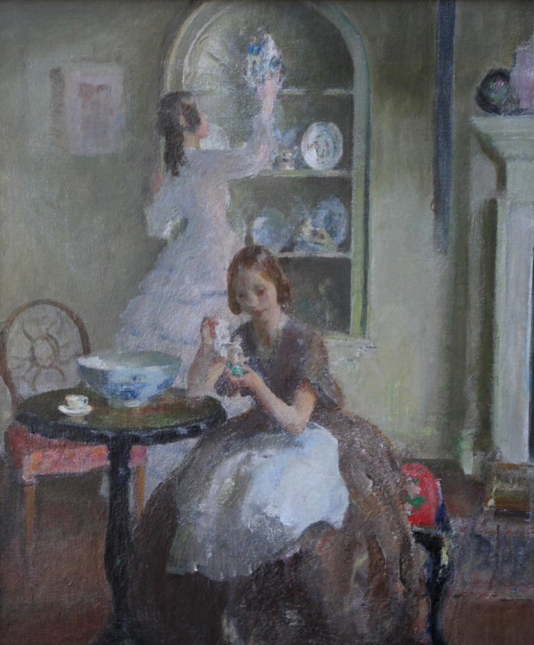 Cleaning the China - British 30's Impressionist art interior oil portrait women  For Sale 4