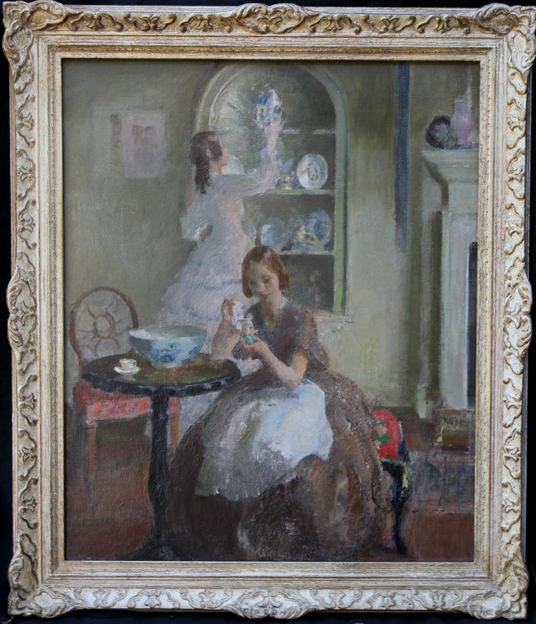 Cleaning the China - British 30's Impressionist art interior oil portrait women  For Sale 5