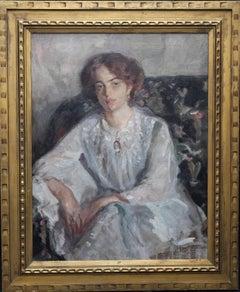 Portrait Lady in White Dress - British twenties Post Impressionist oil painting