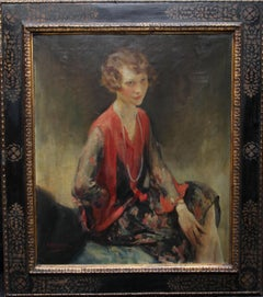 Portrait of a Brunette Lady - British Art Deco 30's female portrait oil painting