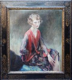 Portrait of a Brunette Lady - British Art Deco 30's female portrait oil painting
