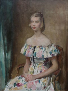 Portrait of a Young Lady Hands Crossed - British Impressionist oil painting