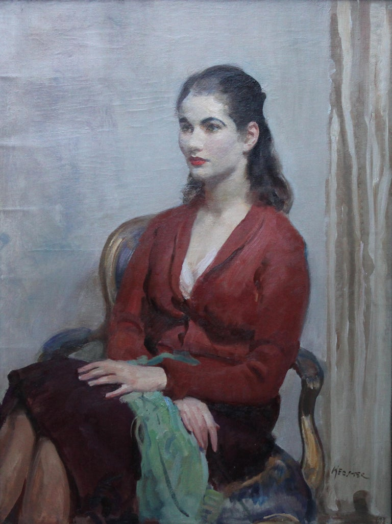 Portrait of Young Lady in Red - British 20's Impressionist oil painting interior - Painting by Walter Ernest Webster