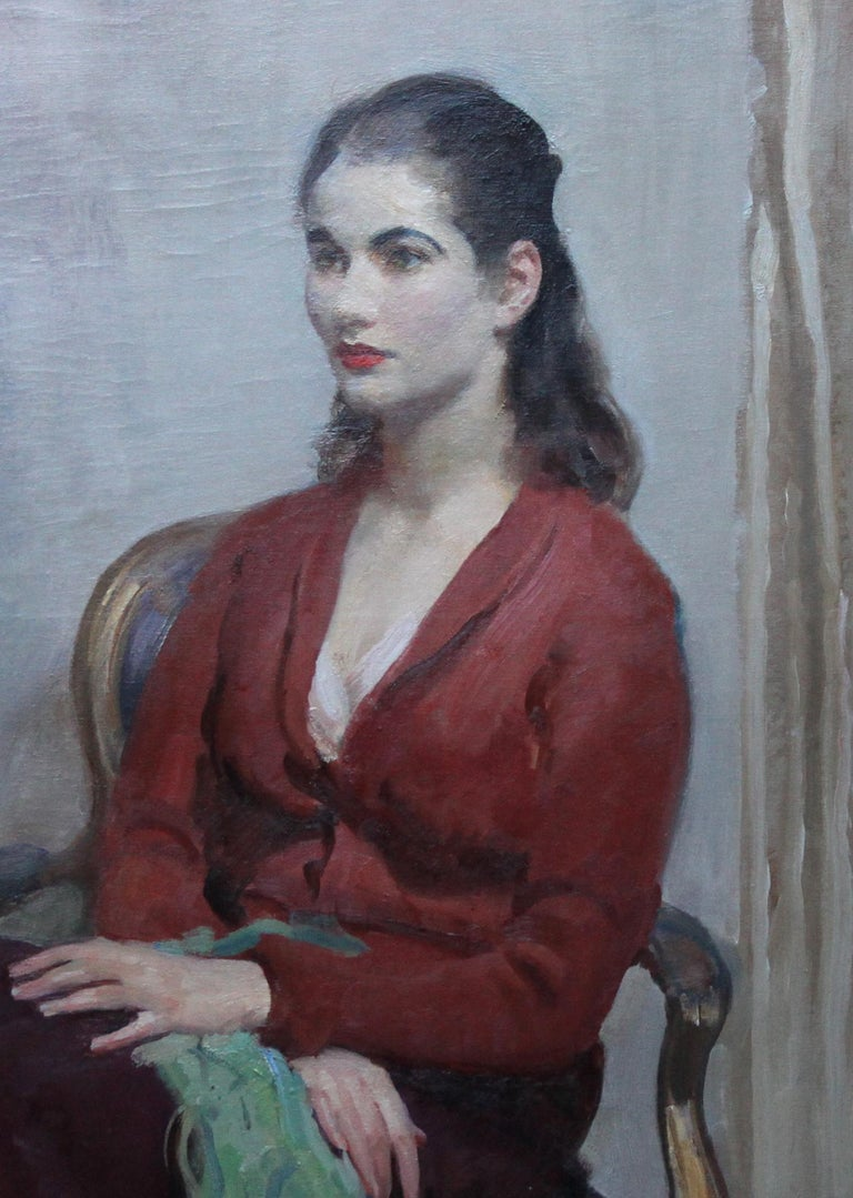 Portrait of Young Lady in Red - British 20's Impressionist oil painting interior - Black Figurative Painting by Walter Ernest Webster