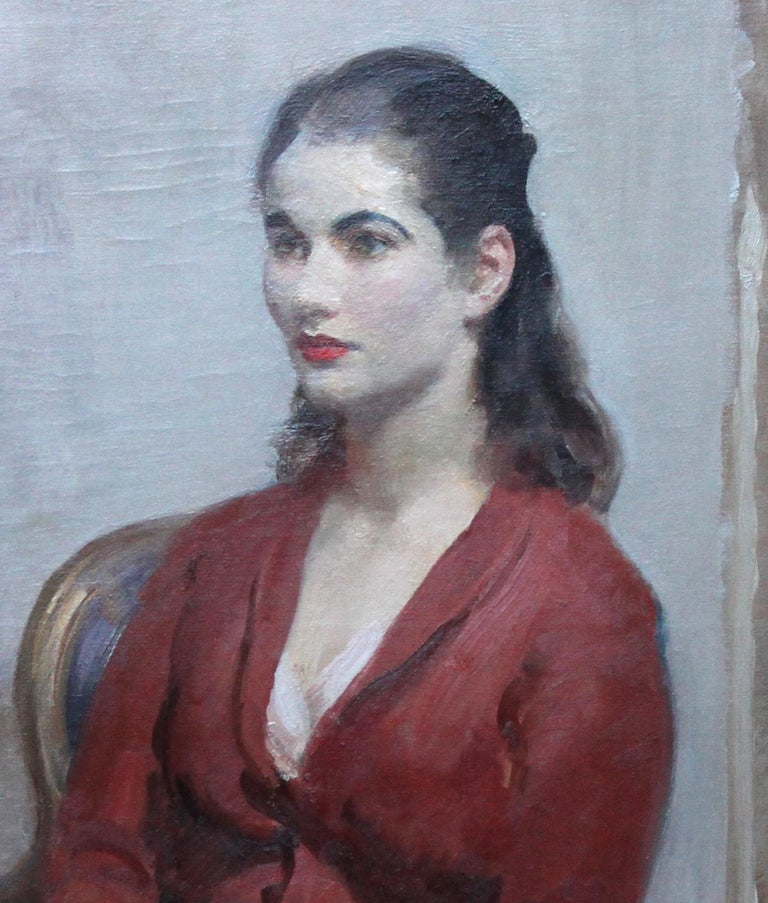 Painted circa 1920 by the noted British Impressionist portrait painter Walter Ernest Webster, it depicts a beautiful young woman in an impressionist palette. Signed lower right. Provenance. Estate of the artist. Housed in Bourlet gallery frame 48 by