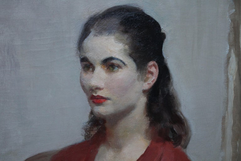 Portrait of Young Lady in Red - British 20's Impressionist oil painting interior For Sale 1