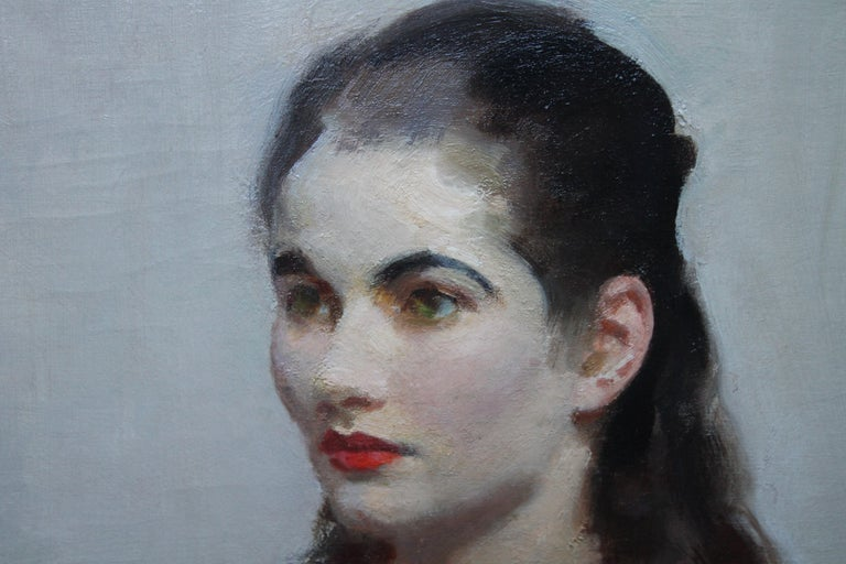 Portrait of Young Lady in Red - British 20's Impressionist oil painting interior For Sale 4