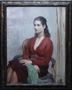 Portrait of Young Lady in Red - British 20's Impressionist oil painting interior