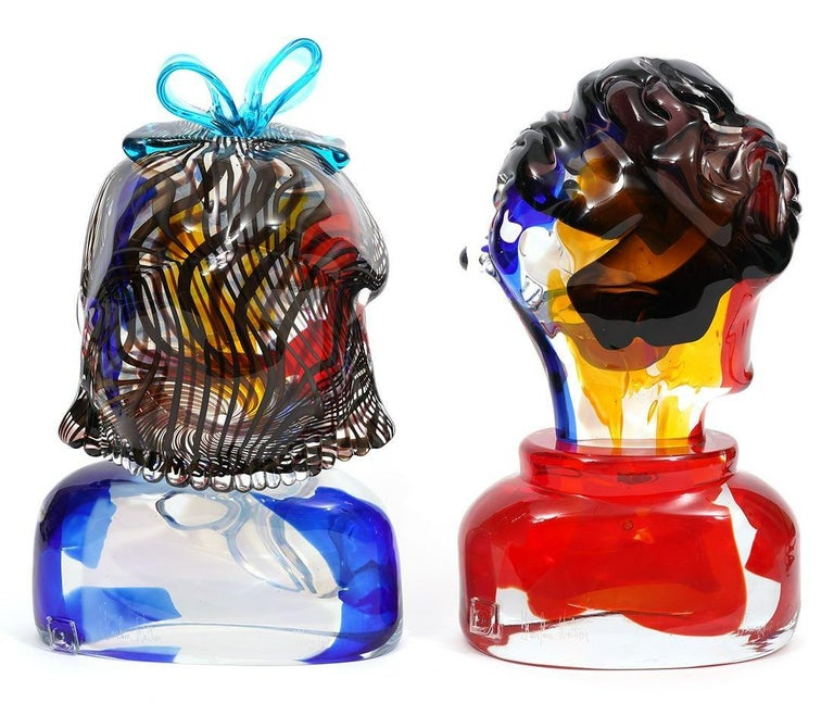 Girl And Boy Tribute To Picasso Murano Glass Sculpture - Gray Abstract Sculpture by Walter Furlan